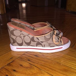 Authentic Coach logo sneaker wedge buckle sandal